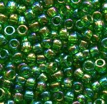 Toho 8/0 Seed Beads Transparent Rainbow Grass Green 167B - 10 grams